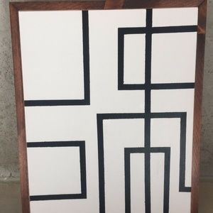Modern Geometric Canvas Wall Art with Wooden Frame